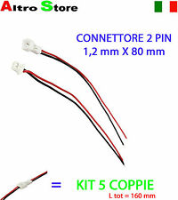 KIT 5PZ CONNETTORE CAVO STRISCIA BOBINA SPINOTTO 2 PIN LED STRISCE ARDUINO 160mm