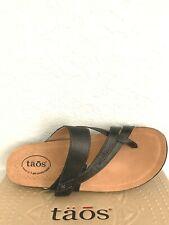 NIB WOMEN TAOS SANDALS/FOOTWEAR (PRF-14050) BLACK SLIDE THONG US 11