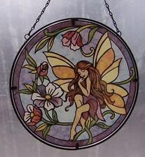 "Suncatcher Hanging Painted Glass & Metal Fairy NEW 10 1/2"" diameter A"