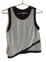 New Material Girl Juniors Sleeveless Crop Top Muscle Tank Off White Black M $45