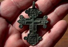 Large Old Middle Ages Medieval Ornate Bronze Cross Pendant