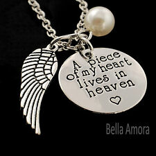 Silver 'A Piece of My Heart Lives in Heaven' Angel Wing Pendant Necklace UK -140