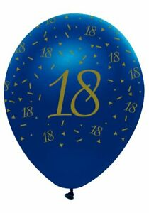 6 Navy & Gold Geode Age 18/18th Birthday Party  Latex Balloons