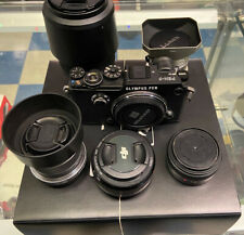 Olympus PEN-F Black Body Package With 5 Lens And Flash.