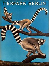 Lemur Tierpark Berlin Zoo Germany Vintage German Travel Advertisement Poster