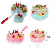 37 Piece Pretend Role Play Kitchen Toy Happy Birthday Cake Food Cutting Set Kids