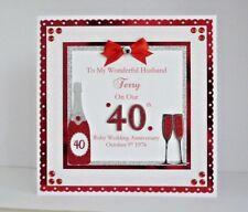 Ruby 40th Wedding Anniversary Card Wife/Husband/Mum & Dad Personalised Large 8x8