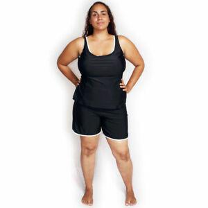 Tankini & Swim Shorts Set Plus Size 18-28 Black Navy Ladies Womens 2 Pc Swimsuit