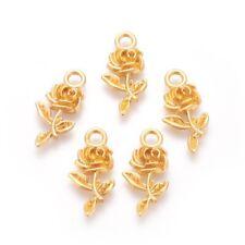 10 Rose Charms Gold Tone Flower Pendants Garden Findings Spring 22mm