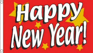 RED HAPPY NEW YEAR FLAG 5' x 3' Christmas Xmas Flags