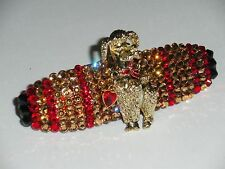 Crystals & POODLE w/ HEART DANGLE Barrette Topaz/Red CUTE!