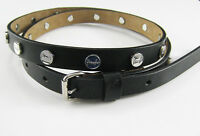 "New Authentic Vintage Ladies PRINGLE Leather Stud Belt 34"" 85cm Black"