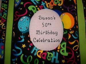 HAPPY BIRTHDAY Personalized Fabric Photo Album / Scrapbook - HANDMADE