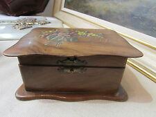 ancienne boite coffret bois noyer souvenir de nice mimosas violettes
