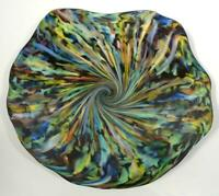 "15.5"" HAND BLOWN GLASS ART PLATTER WALL/TABLE, DIRWOOD, END OF DAY, n3421"