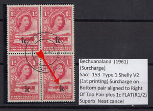 Bechuanaland Protectorate QEII 1961 1c on 1d Block x4 VARIETY Vf/used C244