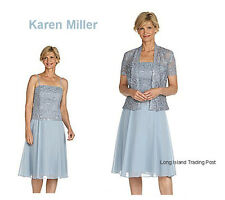 Dillards Karen Miller Mother of Bride Sequin Lace & Chiffon Jacket Dress 16