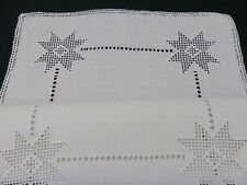 Vintage Lefkara Lace Traycloth ~ Hand Embroidered ~ STUNNING White Linen 56cm