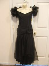 NWT $212 black off shoulder tulle gatsby formal gown costume dress, size 9/10