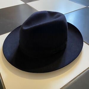 OLNEY Vintage Navy Blue Fur Felt Wide Brim Fedora Hat Size Medium