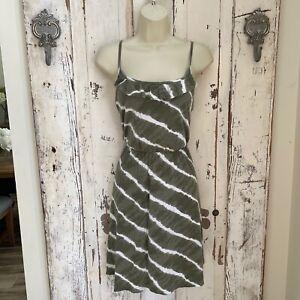 Ann Taylor Loft Size XS Woman's Green White Ruffle Casual Knit Sundress Dress