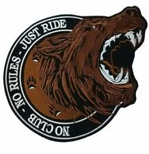 """No Club No Rules Just Ride Lone Wolf Big Embroidered Back Patch 13.5""""/34cm"""