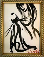 Margarita Bonke Malerei PAINTING erotic EROTIK akt nu art black white cat katze