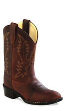 Old West Rust Childrens Boys Oiled Leather Round Toe Cowboy Boots