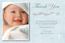 40 Personalised Boy / blue Christening Cards complete with envelopes CT4