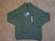 CROFT & BARROW men's NWT sz XLT forest green mock neck 1/4 zipper LS sweater
