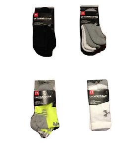 NWT UNDER ARMOUR Boys 3Pak Socks, HEATGEAR or TRAINING; Assorted Styles & Colors