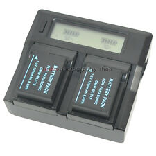 Quick LCD Charger +2x Battery for Panasonic DMW-BLC12PP DMC-FZ1000 DMC-FZ2500GK