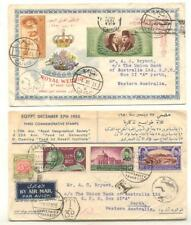 Postage Due 3d Tax Stamp On 1950 Egypt FDC Plus 1951 Royal Wedding FDC