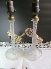 Crystal Boudoir Candlestick Lamps Vintage Pair Bedside Vanity Glass Electric USA