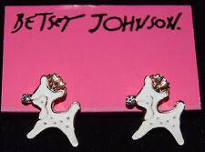 BETSEY JOHNSON ADORABLE WHITE ENAMEL RUDOLPH WITH A CRYSTAL NOSE EARRINGS