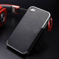 Black Leather Chrome Hard Case Cover For iPhone 4 4s 5 5s 6 + Screen Protector