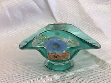 SEGUSO MURANO ITALY ART GLASS SMALL BOWL FLOWERS GREEN PINK BLUE GOLD LEAVE