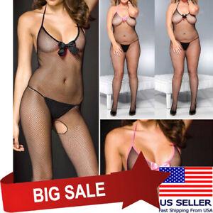 Black or Pink Bow V Neck Fishnet Crotchless Bodystocking Bodysuit Pantyhose M-XL