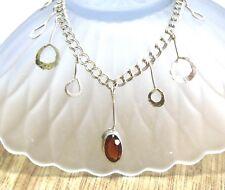 Natural Spessartite Oval Garnet Sterling Silver Necklace Deep Golden Red Color
