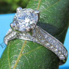 womens real 14kt white gold 2ct round cut diamond engagement ring wedding bridal