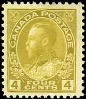 Canada #110 mint F-VF OG NH 1922 King George V 4c olive bistre Admiral CV$150.00