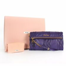 Miu Miu Matelasse Patch Pochette Clutch Shoulder Bag Viola Purple