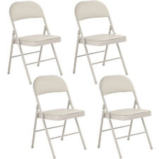 Set of 4 Folding Chairs Steel PU Portable Home Garden Office Furniture Beige New