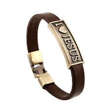 Fashion Unisex Alloy I LOVE JESUS Bracelet Leather Belt Wristband Bangle