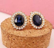 Lovely design sapphire yellow gold filled luxury stud earring HOAU