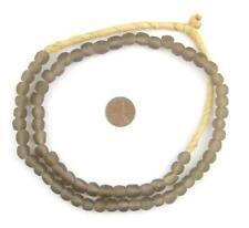 Groundhog Grey Recycled Glass Beads 9mm Ghana African Sea Glass Round Large Hole