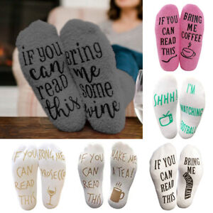 New Women Thermal Funny Socks If You Can Read This Bring Me Wine Casual Gift Hot