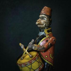 jouet ancien tole tin toy singe monkey affe tambour distler blechspielzeug 1910
