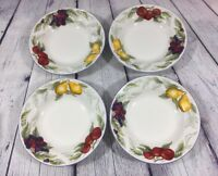 """4 Totally Today Soup Bowls Fruit Design - 8"""" / Pear Apple Berry Dishes"""