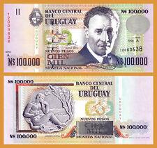 URUGUAY 100,000 100000 NUEVOS PESOS 1991 UNC P.71 PREFIX -A-
